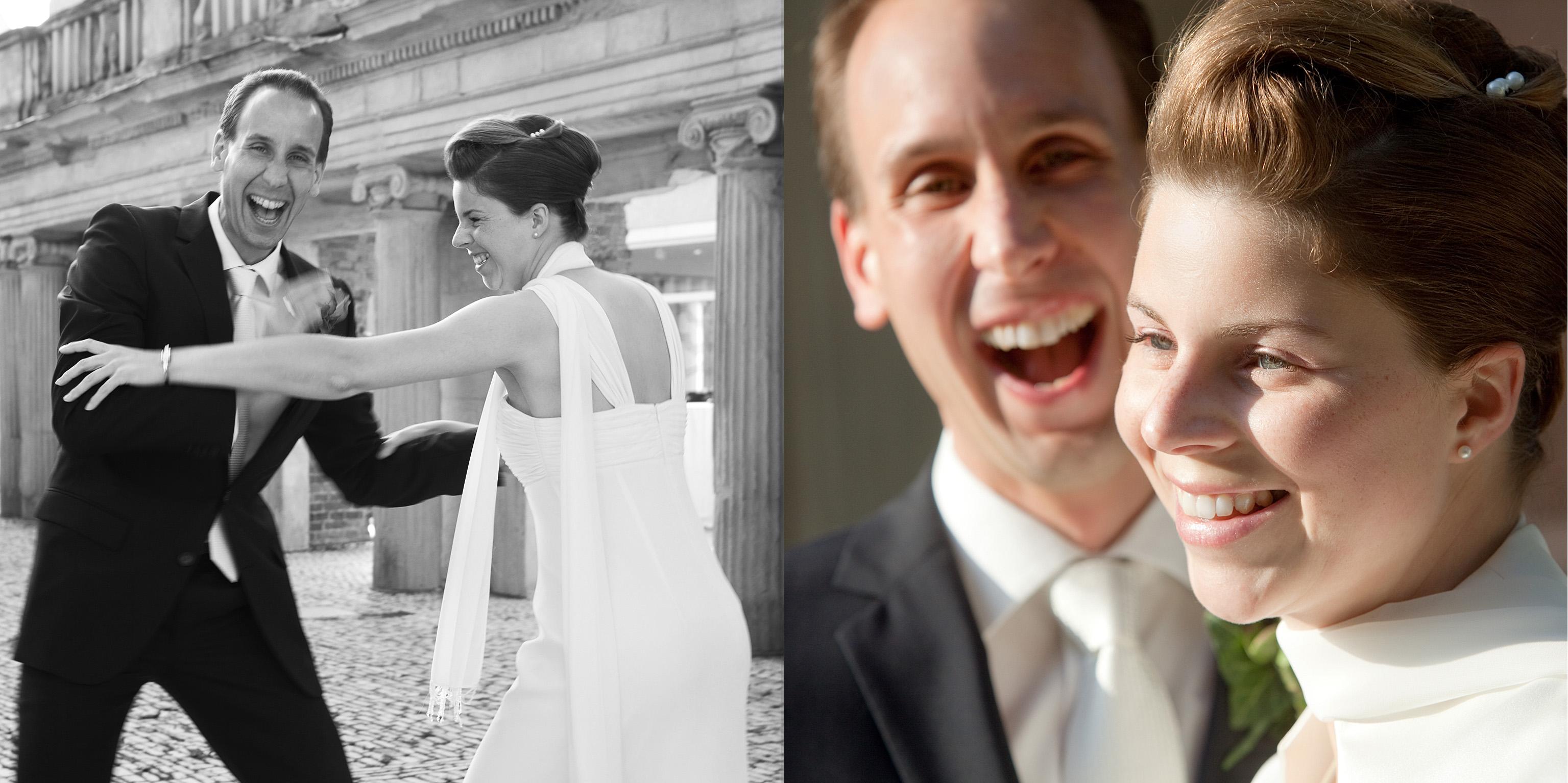collage-schwarz-weiß-farbe-hochzeit-brautpaar-lachen-outdoor