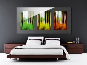 schlafzimmer-einrichtung-dekoration-wandbilder-kunst-dreifach-modern
