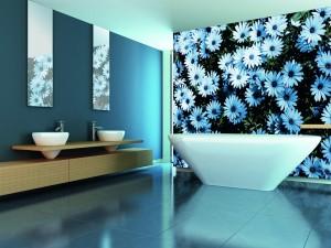 badezimmer-dekoration-fototapete-badewanne-blau