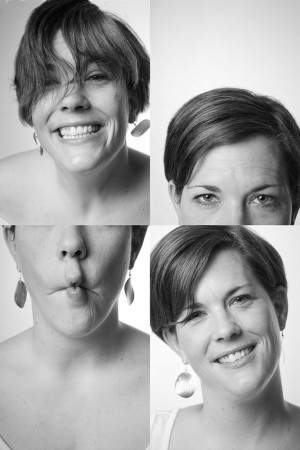 vierfach-portrait-collage-junge-frau-spass-grimasse