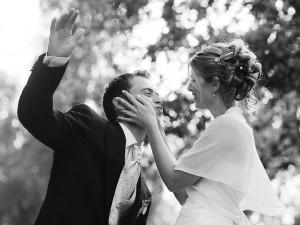 Hochzeitsfotograf, Portrait Brautpaar schwarz-weiss