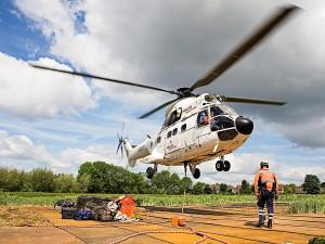 Eventfoto eines Helikopters beim Landen