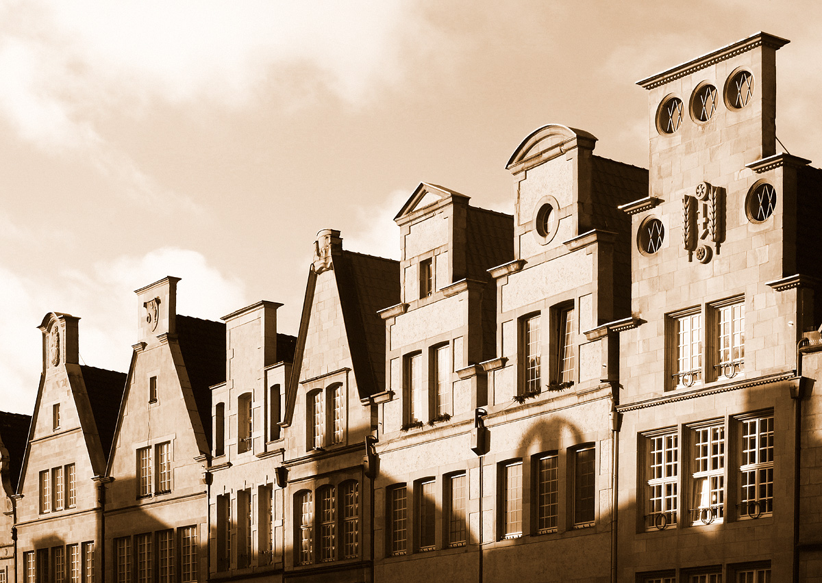 Bildeffekt, Hausfassade Prinzipalmarkt in Sepia