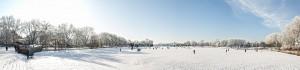 Bildbearbeitung, Panorama des gefrorenen Aasee in Münster