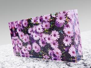 Deko Objekt, Acrylglas Block Blumen