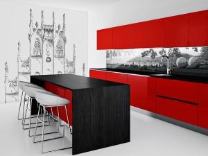 Beispiel eines bedruckten Hintergrundes für die Küche