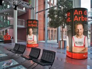 Werbetechnik, bedruckte Werbesäulen