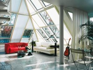 Architekturfotografie, Inneneinrichtung mit starkem Licht von draußen