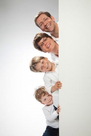 Familienfoto lustige Anordnung